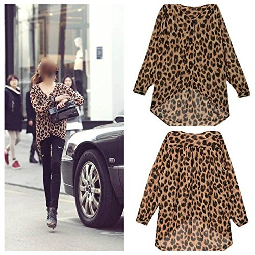 d9192bbaf14 60%OFF Fashion Women s Lady Chiffon Leopard Print Shirt Tops Long Sleeve  Irregular Hem Blouse