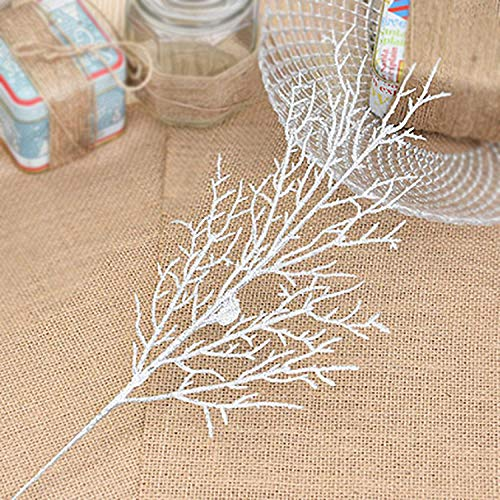 rescozy (Pack of 6) Silver Artificial Glitter Wedding Christmas Leaves Xmas Tree Wreaths Floral Arrangements and Parties Ornaments