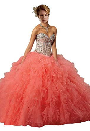 679295bd12c Dearta Women s Ball Gown Sweetheart Quinceanera Dress US 2 Coral