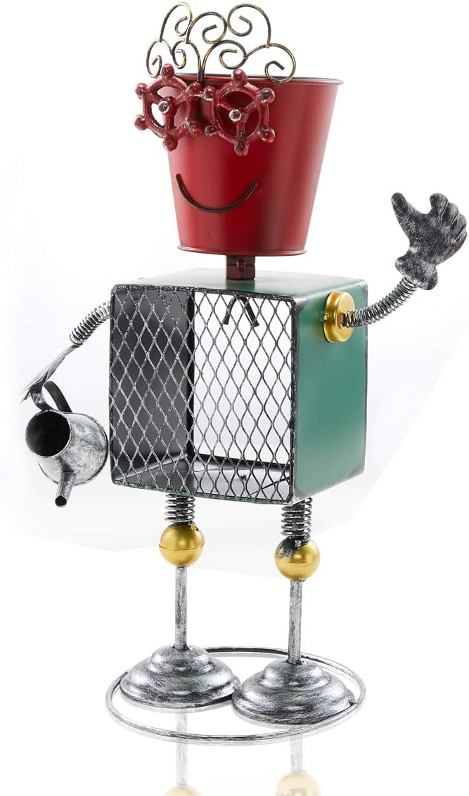 LIMEIDE Flower Pot Robot Style Statue Rustic Metal Planter 18.1' Tall, Iron Flower Pot Holder for Plants Indoor Outdoor Lawn Home Office - Unique Housewarming Gift(Marry)