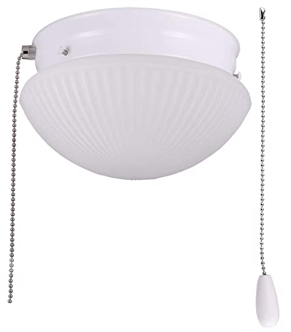 buy online e743a 7b9fb Cloudy Bay LED Flush Mount Ceiling Light with Pull Chain,Glass Shade, 7  inch,12W Dimmable, CRI90 3000K Warm White,Damp, White