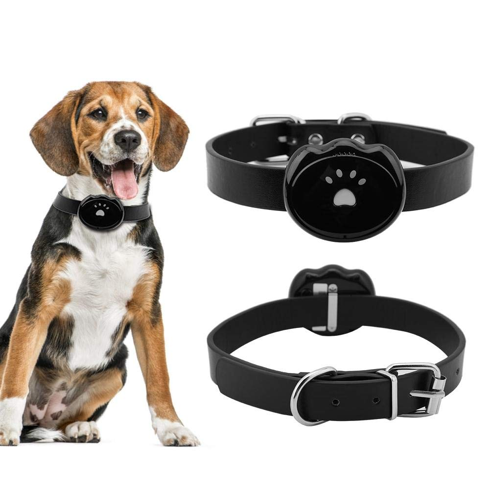 HEEPDD GPS Pet Tracker, 2G Net Mini Pets IP67 Waterproof GPS Tracker Dogs Cats Real-time Intelligent Automatic Alarming Tracking Collar Rechargeable Activity Monitor Locator(Black)