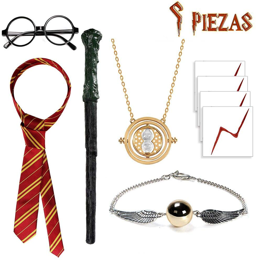 Carnival Halloween Wizard Fancy Dress Accessories Including Harry Potter Magic Wand /& Gryffindor Tie for Wizard School Boy Party Gift for Cosplay SUPERSUN 9 Pieces Harry Potter Costume