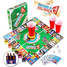 DRINK-A-PALOOZA Board Game: Combines Old-School + New School Drinking Games & Adult Games with Beer Pong, flip Cup, Kings Cup Card Game & The Best Adult Party Games
