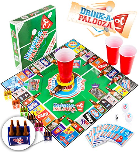 DRINK-A-PALOOZA Board Game: combines 'old-school' + 'new school' drinking games & adult games with beer pong, flip cup, kings cup card game & the best adult party games