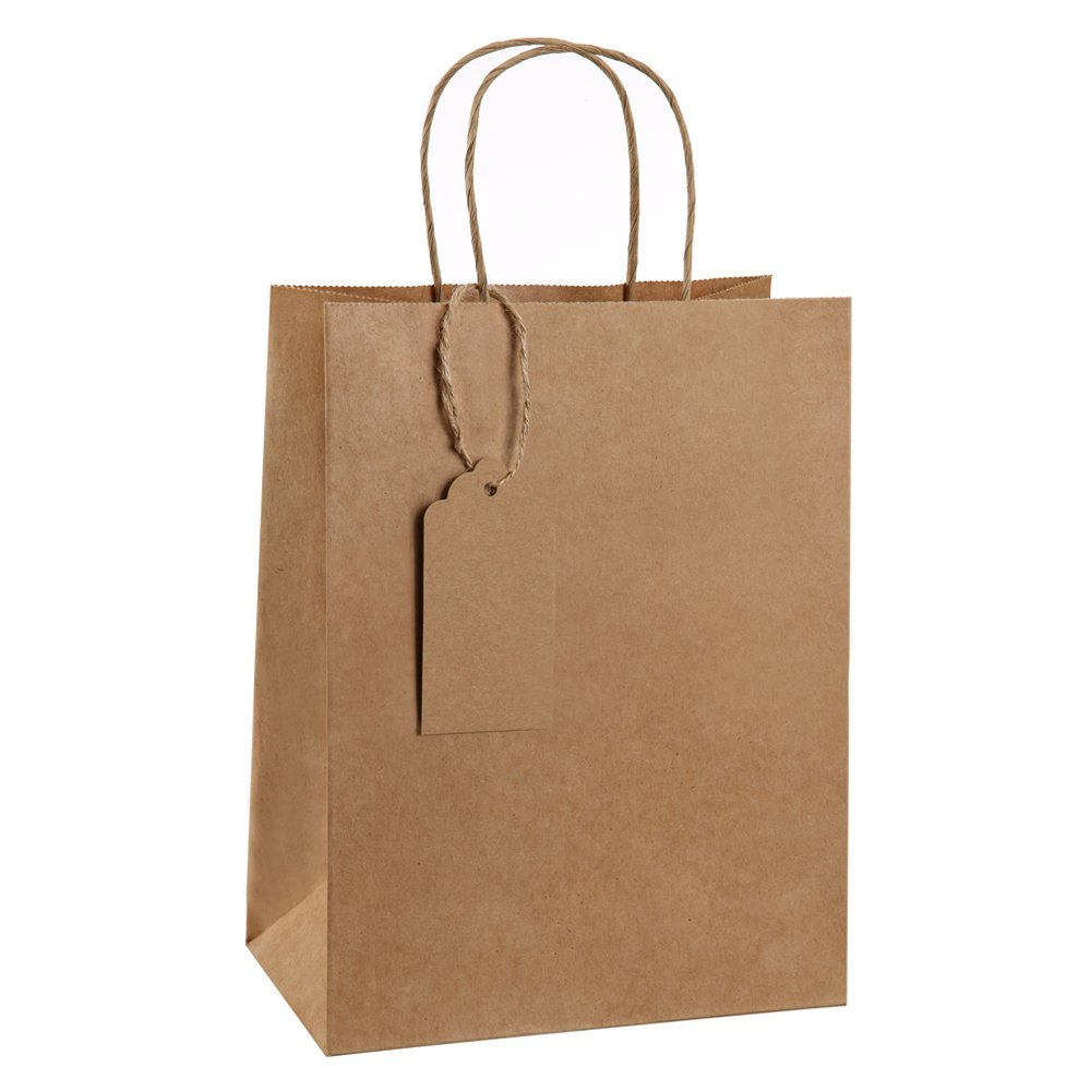 Gift Bags 8x4.75x10.5'' BagDream Kraft Shopping Bags with Gift Tags 50 Pcs, Paper Bags, Kraft Bags, Retail Bags, Brown Gift Bags with Handles, 100% Natural Unbleached Gift Bags Set