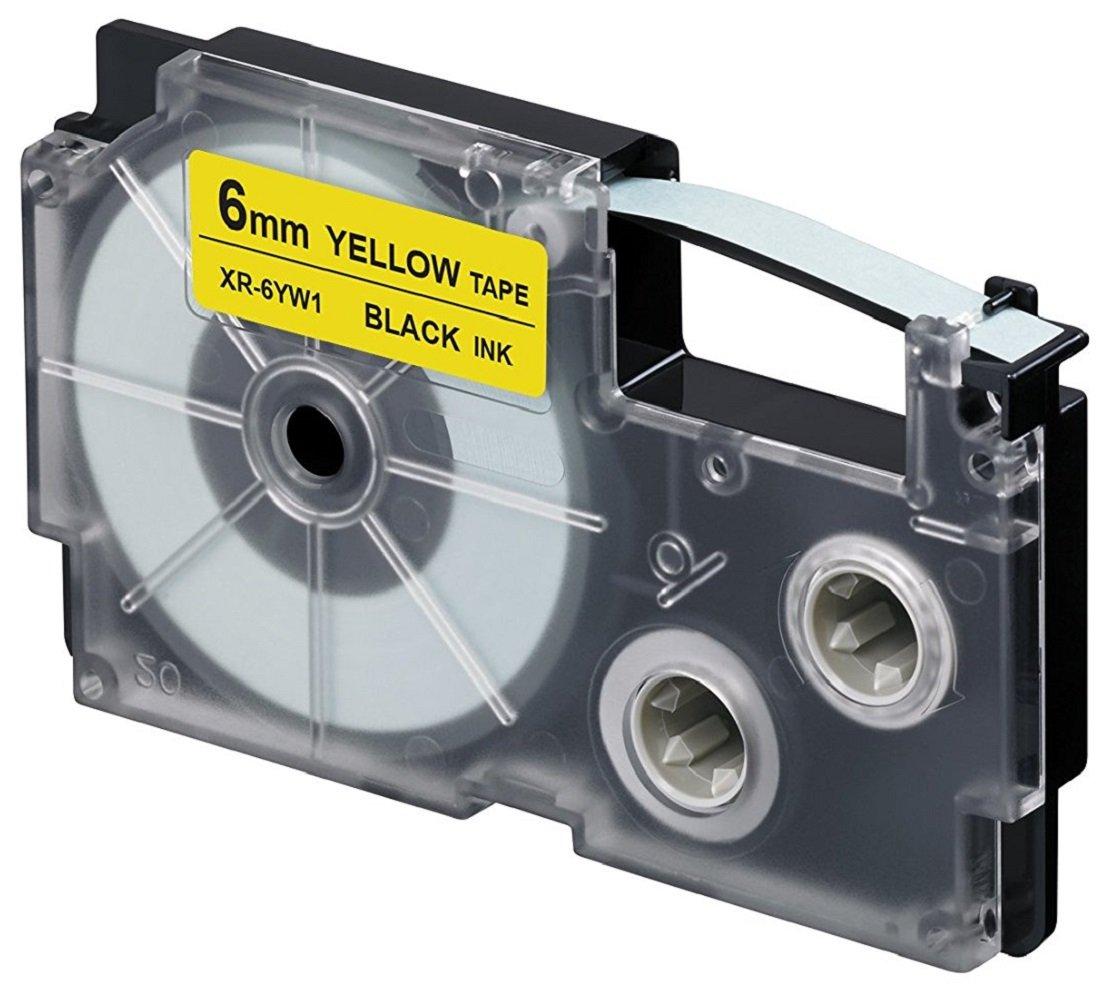 Casio XR-6YW1 nastro per etichettatrice Nero su giallo
