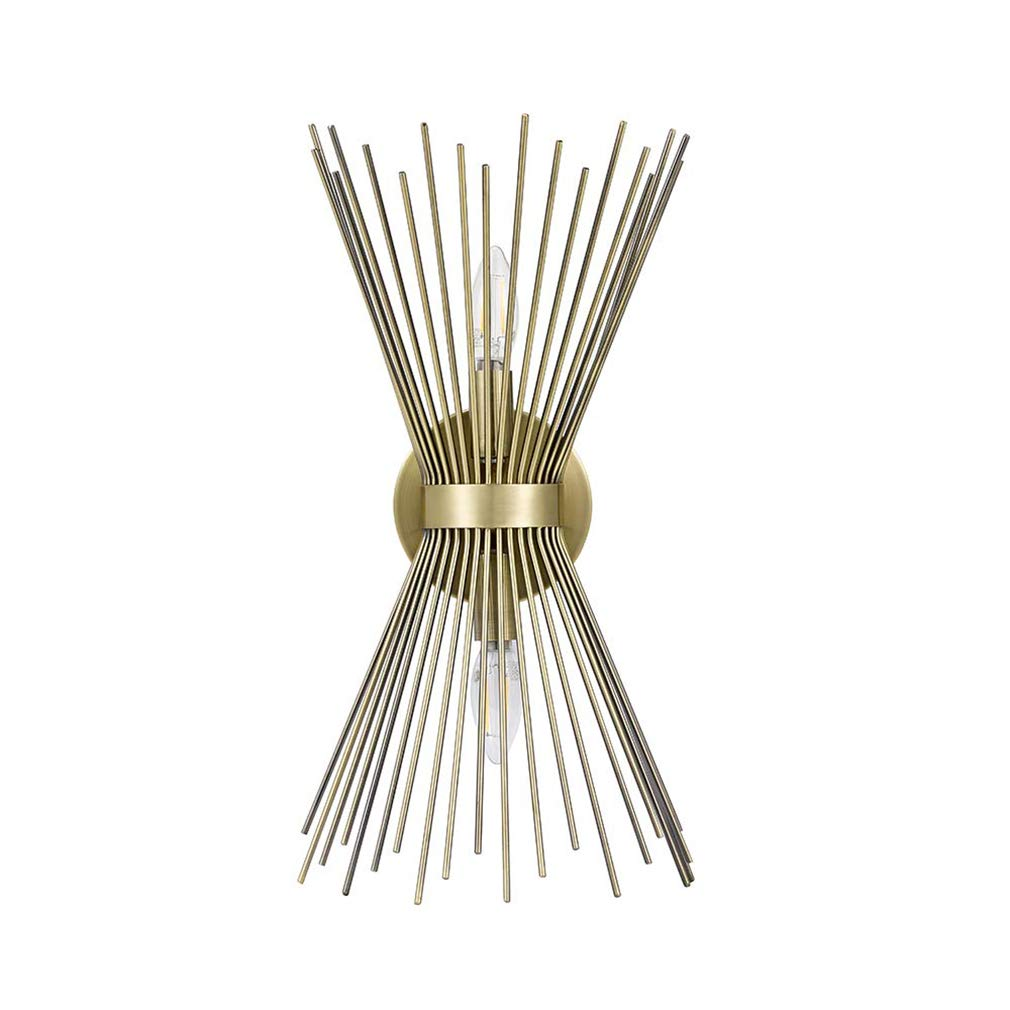 Rivet Mid-Century Modern Starburst Wall Sconce Lamp With 2 Light Bulbs - 8.25 x 5 x 17.5 Inches, Antique Gold