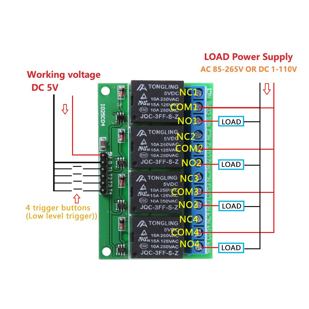 LANDUM IO25C04 Modulo rel/è a 4 canali Modulo autoregolatore a Bassa frequenza a impulso a 5 canali