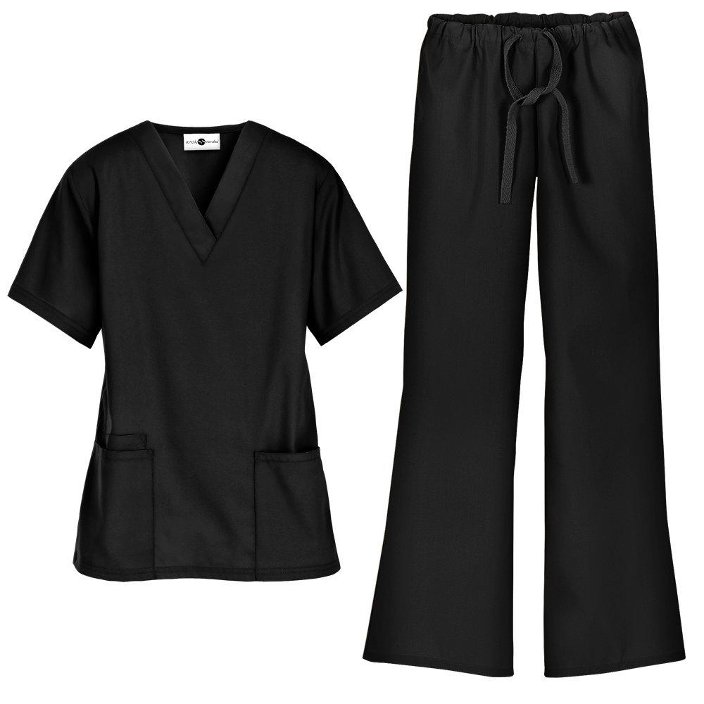 Women's Scrub Set/Medical V-Neck Top & Drawstring Scrub Pant (XS-3X, 7 Colors) (Large, Black)
