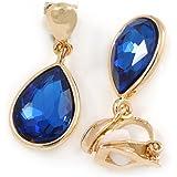 Idin Clip-on Earrings - Deep sky blue faceted teardrop clip-on earrings (approx. 14 x 10 mm)