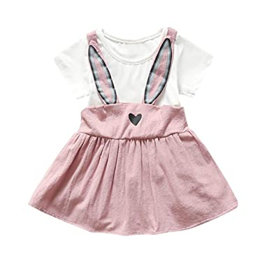 436e567e6d Amazon.com  Sagton® Cute Kids Toddler Baby Girls Clothes Rabbit Ear Strap  Dress 0-24M  Clothing