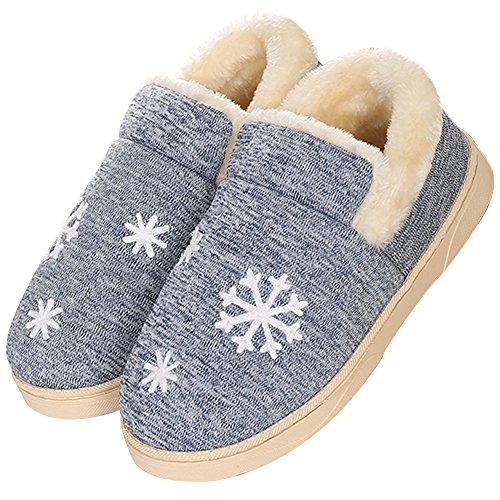JACKSHIBO Damen Winter Warm Hausschuhe Anti-Rutsch Plüsch Baumwolle Pantoffeln Home Slippers Blau