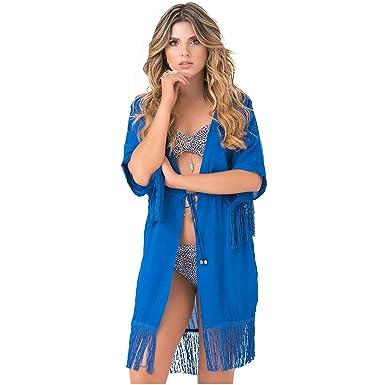 PHAX Colombian Swimwear Cardigans for Women | Salidas de Playa para Mujer Blue S