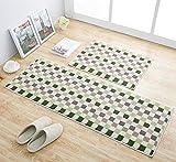 EUCH Non-slip Rubber Backing Carpet Kitchen Mat Doormat Runner Bathroom Rug 2 Piece Sets,17''x47''+17''x23'' (Green Mosaic)