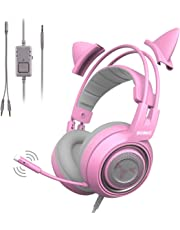 SOMIC G951S Pink Gaming Headset with Microphone, Kid Girls Pink Cat Ear Headphone with 3.5mm Wired for Xbox One, Nintendo Switch, PS4, iPhone, iPad
