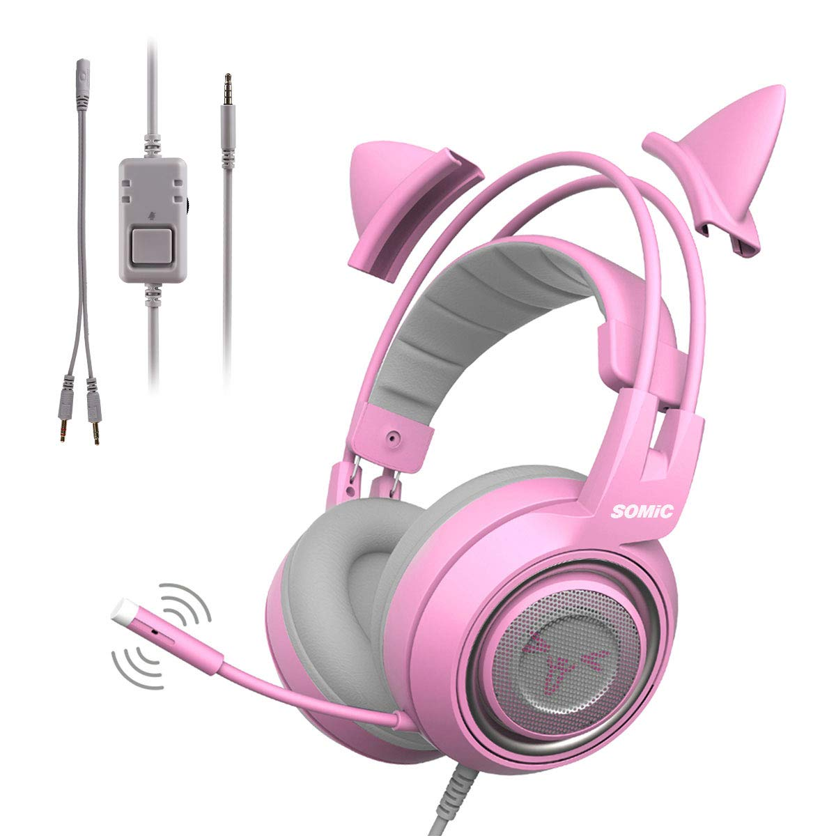 SOMIC G951s Pink Stereo Gaming Headset with Mic for PS4, Xbox One, PC, Mobile Phone, 3.5MM Sound Detachable Cat Ear Headphones Lightweight Self-Adjusting Over Ear Headphones for Women by SOMIC