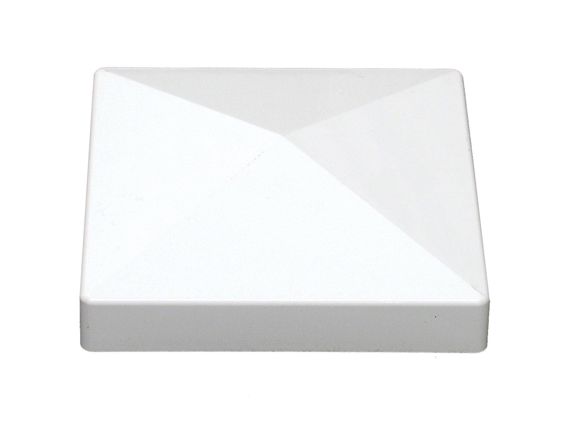 Premium White 6x6(5 5/8'' x 5 5/8'') Pyramid Fence Post Caps (Pack of 10)
