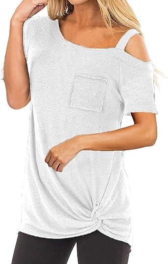 Ronamick Camisetas Largas De Mujer Casual Blusa Encaje Tops Manga Larga Mujer Casual Camisa Amarilla Mujer (Blanco,XXL): Amazon.es: Hogar