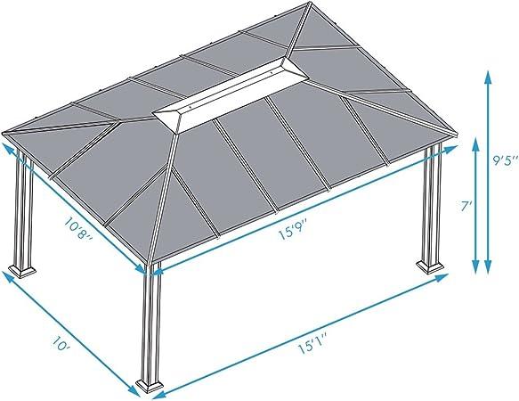 Paragon Outdoor GZ3XLK - Carpa de Aluminio con mosquitera, 28 x 40 cm, Diseño de Santa Monica XL: Amazon.es: Jardín