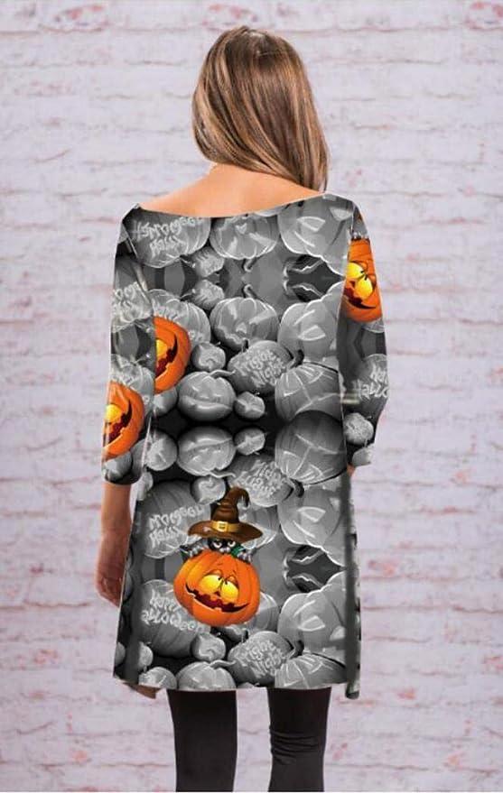 BaZhaHei-Halloween, Vestido de Fiesta de Noche de Cuello Alto de Manga Larga de Calabaza de Halloween para Mujer de la Moda del Vestido de Calabaza de ...