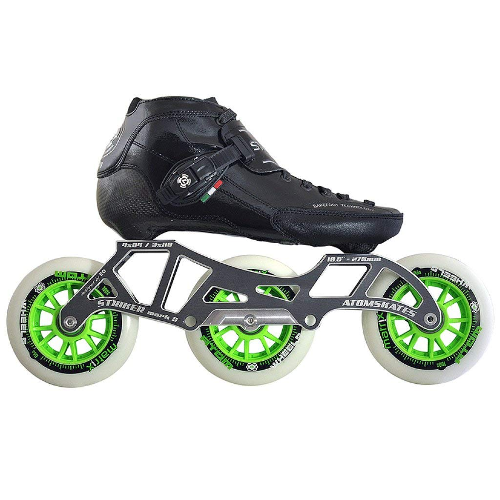 Atom Luigino Strut 3 Wheel Inline Skate Package (Size 3, Black)