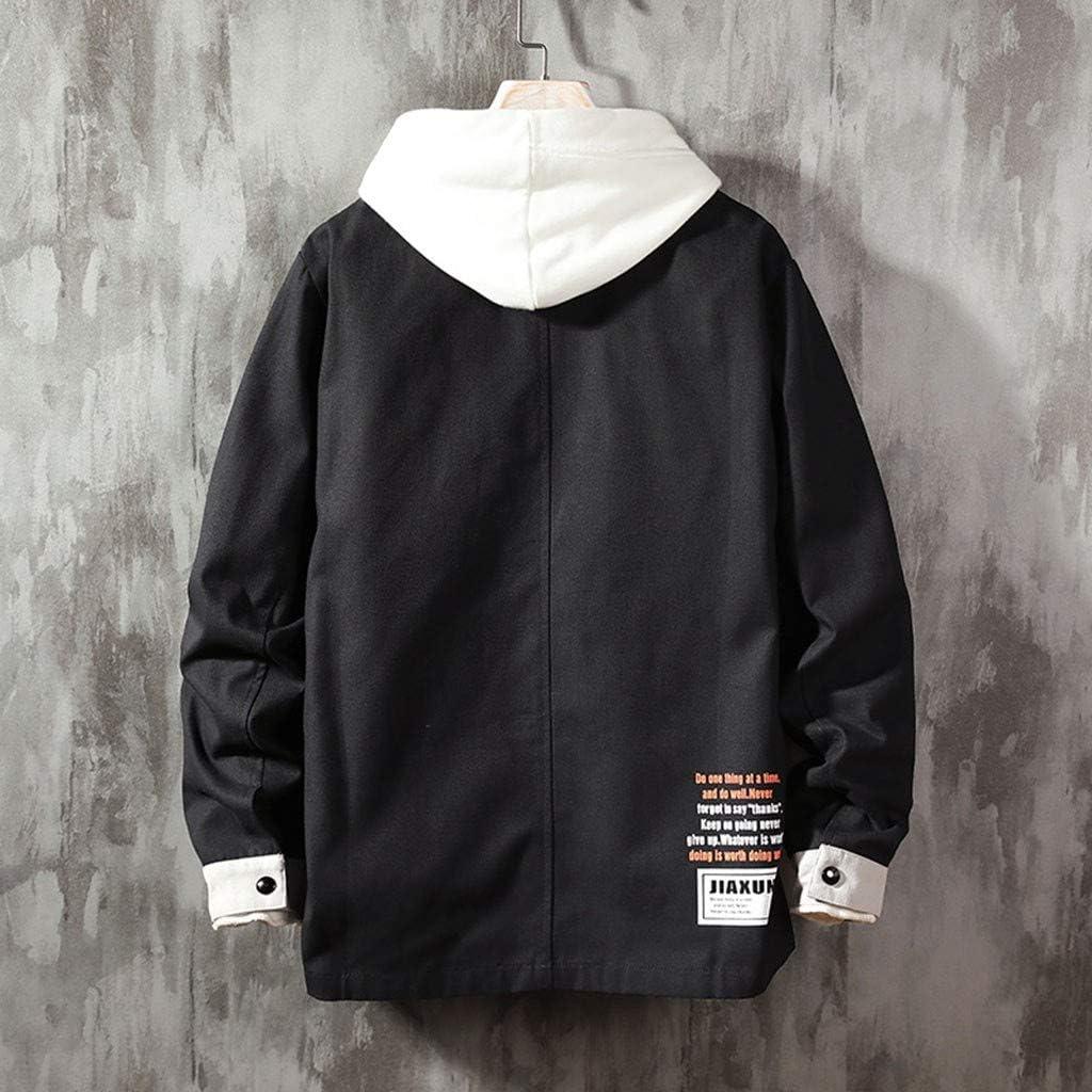 Corriee Deals Mens Outwear Men Casual Long Sleeve Patchwork Hoodie Coats Full Zip Jackets
