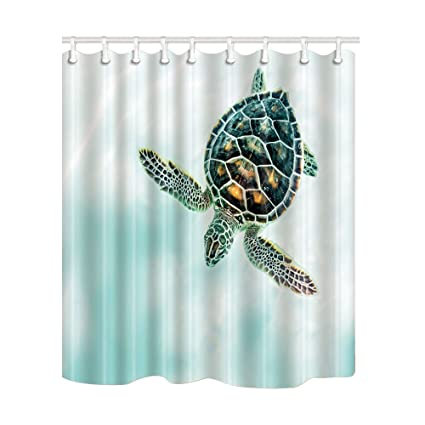 NYMB Ocean Animals Decor Turtles Shower Curtain 69X70 Inches Mildew Resistant Polyester Fabric Bathroom Fantastic Decorations