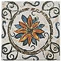"SomerTile FEB8PRT1 Vencia Ceramic Floor and Wall Tile, 7.75"" x 7.75"", Beige/Orange/Blue/Brown/Green"