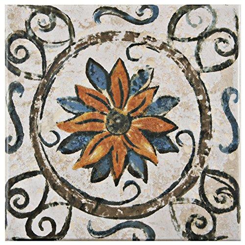 SomerTile FEB8PRT1 Vencia Ceramic Floor and Wall Tile, 7.75'' x 7.75'', Beige/Orange/Blue/Brown/Green by SOMERTILE