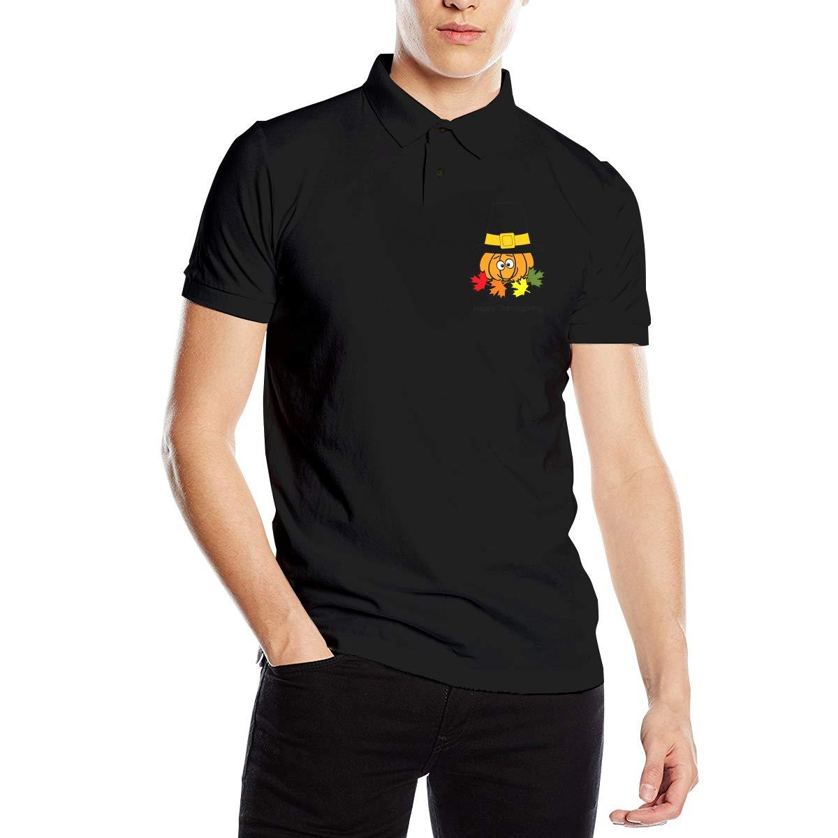 Hengteng Men Designed Breathable Pilgrim Pumpkin Jack-o-Lantern Short Sleeve Classic Polo Shirts Black