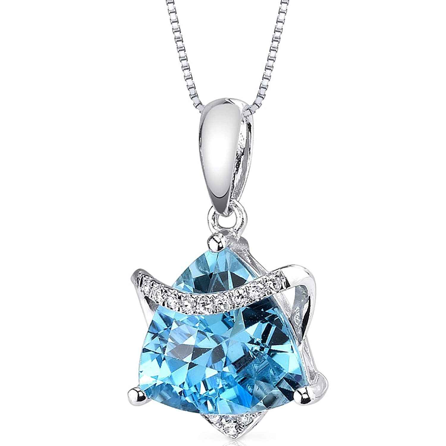14 Karat White Gold Trillion Cut 2.65 carats Swiss Blue Topaz Diamond Pendant