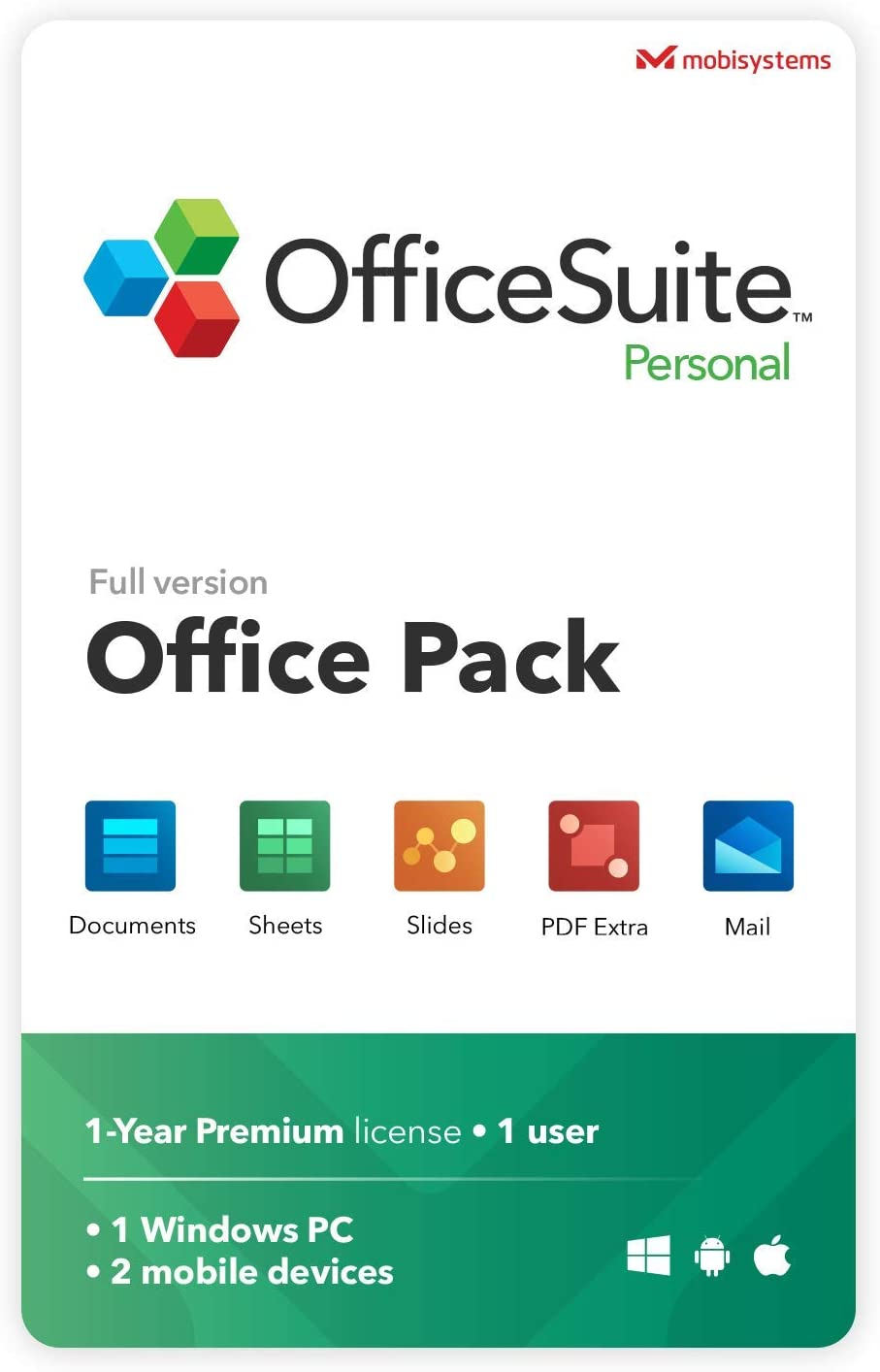 OfficeSuite Personal Compatible with Microsoft® Office Word® Excel® & PowerPoint® and Adobe® PDF for PC Windows 10, 8.1, 8, 7 - 1-year license, 1 user