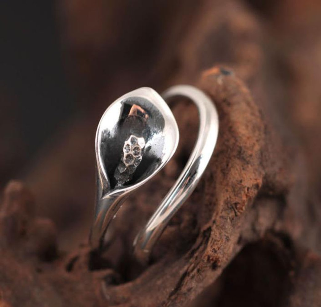 Rings Silver 925 For Women Girls Rings Silver Band Antique Rings For Her With 925 Stamp For Sensitive Skin Calla Lily Flower Vintage Genuine 925 Sterling Silver Rings Adjustable Size Good Gift by SHEIS LOVING (Image #3)