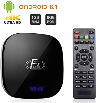 A95X F1 Android 8.1 TV Box 1GB RAM 8GB ROM Amlogic S905W Quad-Core Cortex-A53 CPU Supports 2.4GHz WiFi 3D 4K HDMI 2.0 100M LAN Ethernet: Amazon.es: Electrónica