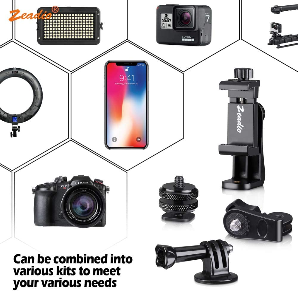 fits for All GoPro and iPhone Samsung Huawei and All Phones Zeadio Tripod Mount Adapter Kits