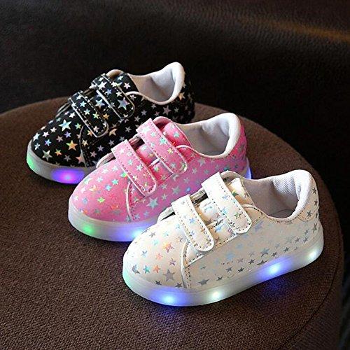 hibote Kleinkind Jungen Mädchen Aufleuchten Schuhe LED Turnschuh Rosa
