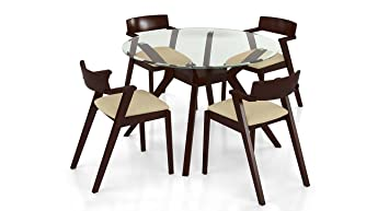 f12638ff8d5 Urban Ladder Wesley - Thomson 4 Seater Round Glass Top Dining Table Set  (Colour