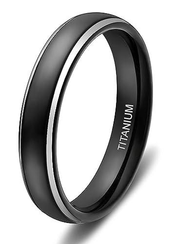4mm 6mm 8mm Titanium Rings for Men Women Black Dome Two Tone Polish
