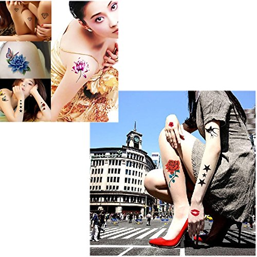 10 Sheets Fashion Body Art Stickers Removable Waterproof Temporary Tattoos ( Q )