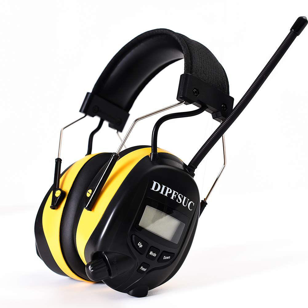 DIPFSUC Rechargeable Bluetooth AM/FM Radio Headphones,Wireless Hearing Protection Safety Work Ear Muffs with 1200mAh Li-ion Battery,NRR 25dB Noise Cancelling Headsets for Lawn Mowing/Construction by DIPFSUC
