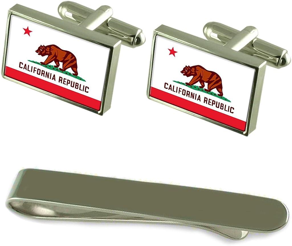 California Flag Silver Cufflinks Tie Clip Box Gift Set