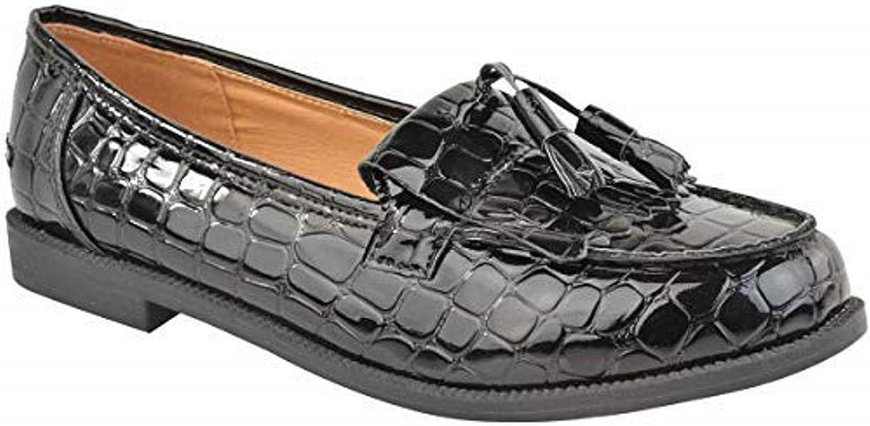Mujer Mocasines Planos Casual Oficina Escuela con Flecos Zapatillas - Charol Negro/Leopardo Ante Artificial