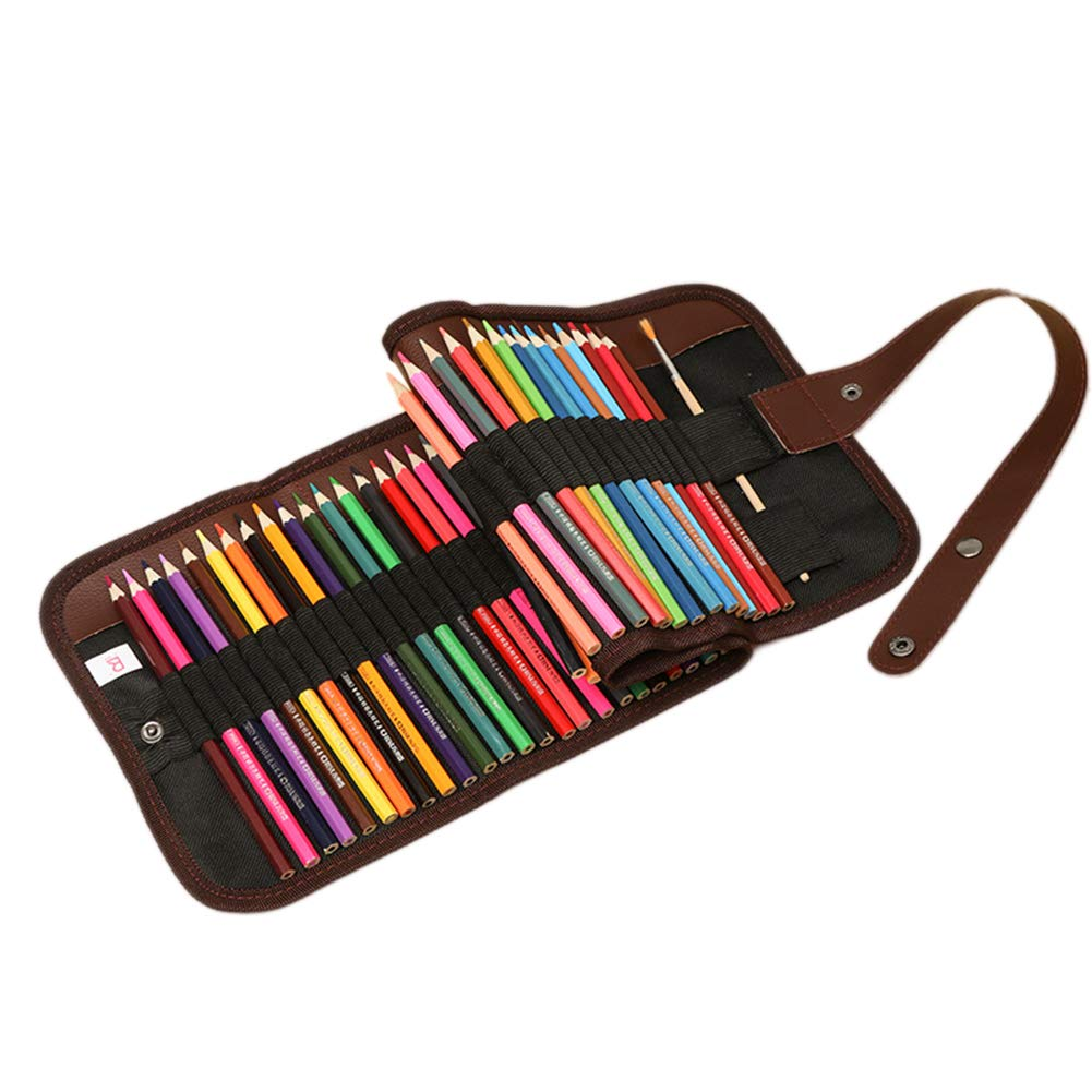 tbpersicwT 48Pcs Art Sketching Pencils Student Drawing Canvas Carry Pouch Roll Bag Set Pouch Pencil Bag Pocket Protectors Black