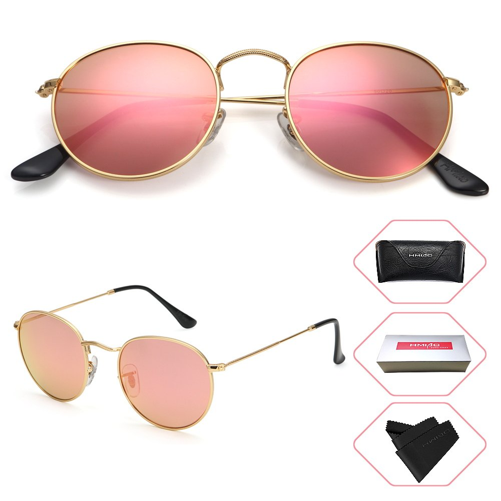 HMIAO Small Round Vintage Mirror Lenses UV Protection Unisex Sunglasses by (Gold Frame, Pink