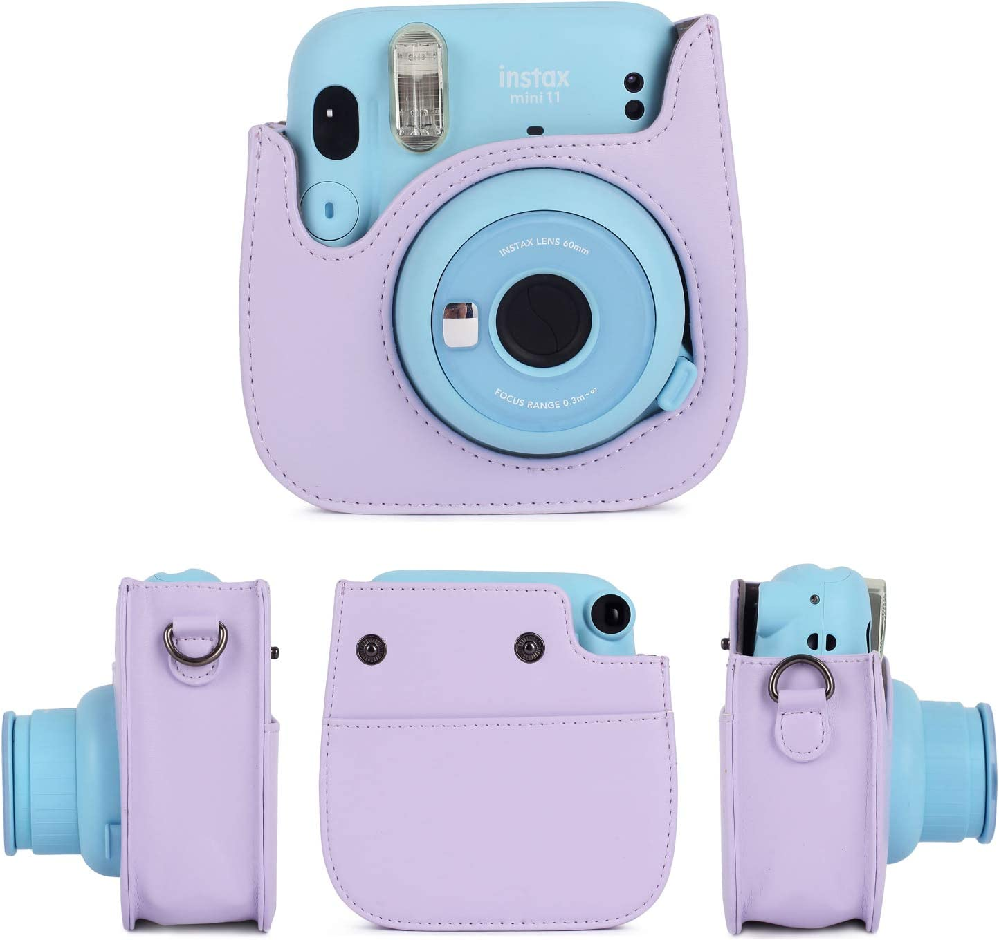 Magic Silver Phetium Instant Camera Protective Case Compatible with Fujifilm Instax Mini 11,PU Leather Bag with Pocket and Adjustable Shoulder Strap
