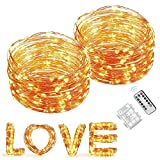Copper Wire Lights, Elebor 2 Packs 33 Foot 100 LED Fairy Lights- Battery Operated Warm White String Lights for Decoration, Indoor, Wedding, Party, Garden, Festival
