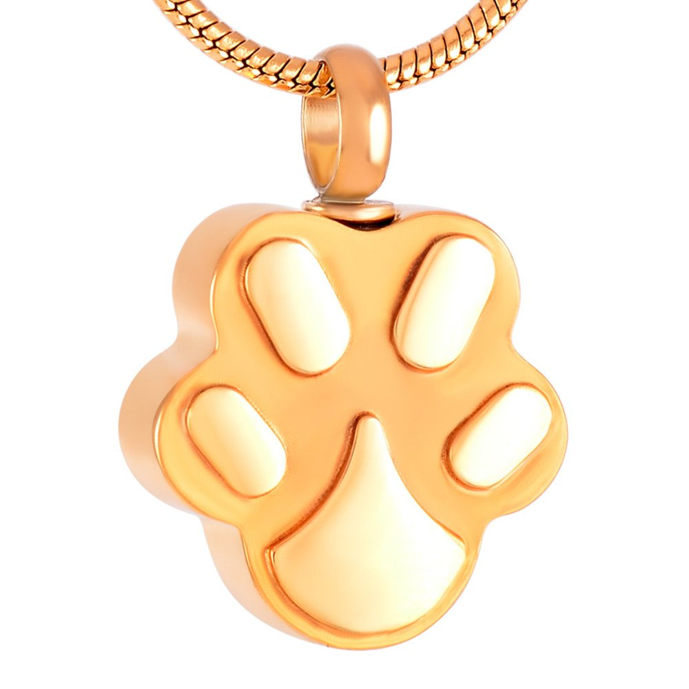SS9292 Dog/Cat Paw Memorial Ash Necklace Pet Cremation Urn Keepsake Necklace Jewelry (gold)
