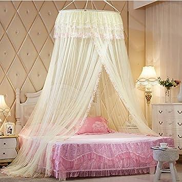 AuBergewohnlich Dulcii, Einem Baldachin Moskitonetz Netz Vorhang Romantische Prinzessin  Rund Lace Kuppel Bett Netz Gelb