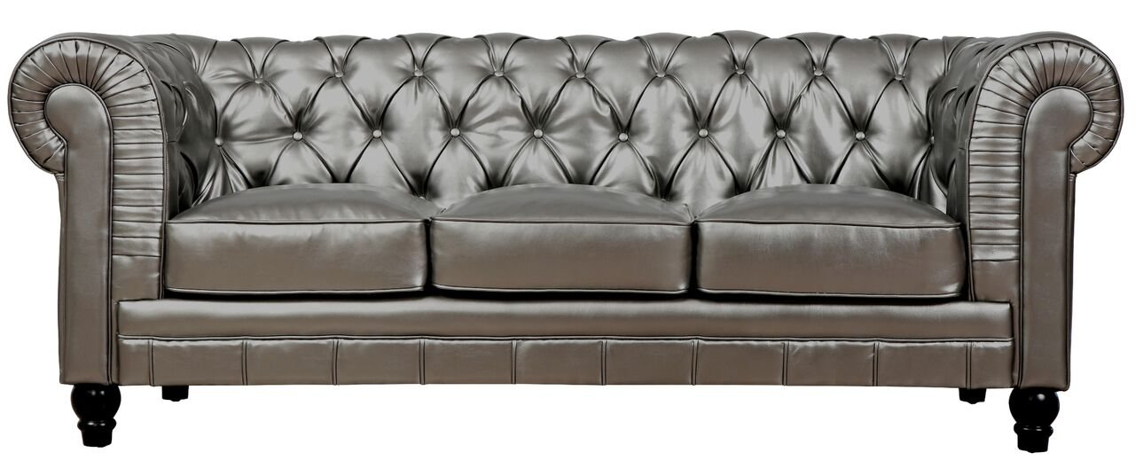 Marvelous Amazon.com: TOV Furniture The Zahara Collection Contemporary Collection  Leather Upholstered Living Room Sofa, Silver: Kitchen U0026 Dining
